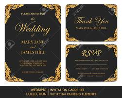 Wedding Invitation Card With Photo Wedding Invitation Cards Set With Thai Painting Elements Royalty