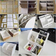 Diy Desk Organizer Ideas How To Diy Cardboard Desktop Organizer With Drawers