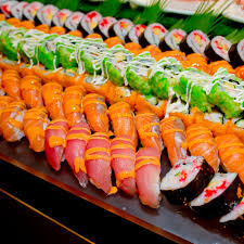 japanese cuisine buffet catering style sushi set in restaurant