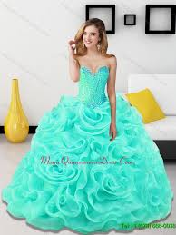 15 quinceanera dresses beading and rolling flowers sweetheart light blue sweet 15