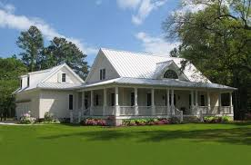 southern country homes wrap around back porch one story house houses with porches country