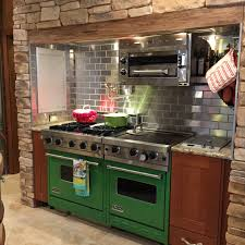 Stainless Steel Backsplash Kitchen by A Gorgeous Customer Kitchen Design With Green Stoves Stainless