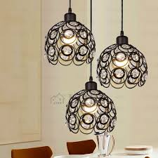 Black Hanging Light Fixture Black Wrought Iron And Three Light Modern Multi Pendant Lights