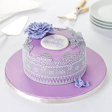 easy entertaining happy birthday silver and lilac lace cake