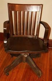 Antique Desk Chair Parts Antique Bankers Oak Rolling Desk Chair 1920s Wood Casters Library