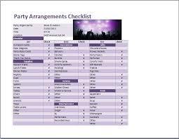 party arrangements checklist template for excel word u0026 excel