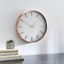 wall clocks copper wall clock in clocks reviews crate and barrel