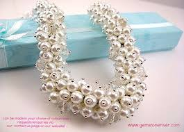 pearl crystal statement necklace images White pearls crystal cluster necklace earring set bespoke jpg