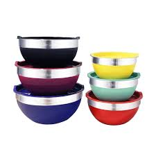 purple kitchen canister sets 2 piece stainless steel colored mixing bowl with tops red green