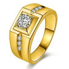 men promise rings domineering plated 24k gold diamond ring mens rings