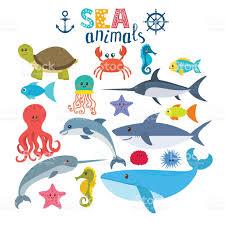 vector set of sea creatures cute cartoon animals stock vector art