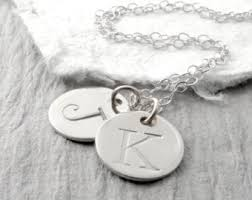 Mothers Necklace With Initials White Gold Necklace Etsy