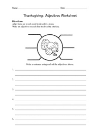 adjectives worksheet thanksgiving turkey by connors tpt