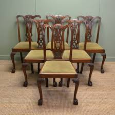 set of six chippendale design antique dining chairs c 1920