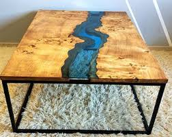 live edge river table epoxy sold live edge river coffee table with transparent epoxy inlay sold
