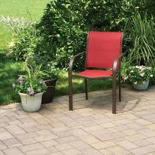 Stackable Sling Patio Chairs Mainstays Stacking Sling Chair Paprika Walmart