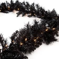 Christmas Garland With Lights by Classic Black 9 Ft Pre Lit Garland Hayneedle