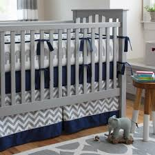 Baby Boy Chevron Crib Bedding Gray And Navy Blue Crib Bedding Alleghany Trees