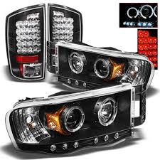 2003 dodge ram tail lights dodge ram 2500 2003 2005 black projector headlights and led tail