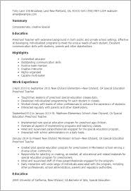 exles of outstanding resumes early childhood special education cover letter