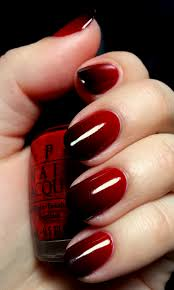 dark red reverse gradient hearts ombre nail art dark red and ombre
