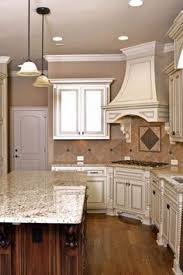 Antique White Kitchen Cabinets by Antique White Cabinets Light Granite Antique Black Island My