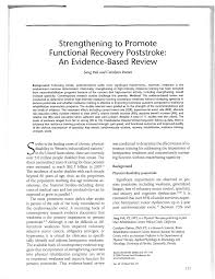 strengthening to promote functional recovery poststroke an