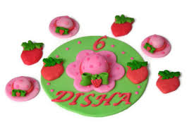 Strawberry Shortcake Cake Decorations Fondant Strawberry Cupcake And Cake Toppers Set Perfect For