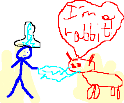 top hatted blue wizard subdues demon rabbit drawing by ª ž
