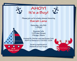 digital nautical baby shower invitation crab and boat invite