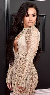 grammys 2017 demi lovato goes braless in see through dress