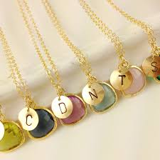 set of 6 monogram necklaces wedding bridesmaids gift birthstone