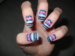 easy aztec nail design made these nails using a striper brush
