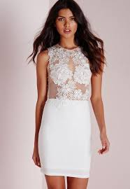 white bodycon dress applique floral mesh bodycon dress white missguided