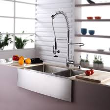 faucets for kitchen decor using stainless farmhouse sink for dazzling kitchen