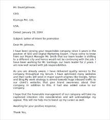 ideas of how to write a letter of intent for job promotion for