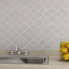 bianco carrara marble arabesque mosaic tile kitchen backsplash