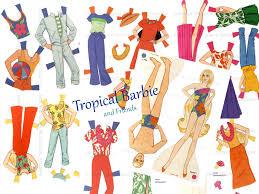 tropical barbie vintage paper doll beach barbie hawaiian