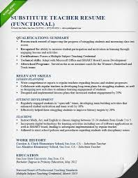 teacher resume summary of qualifications exles for movies substitute teacher resume sle functional education