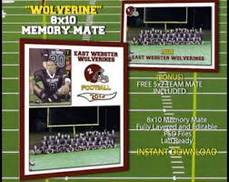 2017 8x10 football sports memory mate template for photoshop