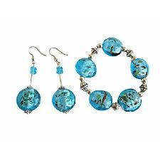 murano bead bracelet images Murano glass flat bead stretchable bracelet earring bali silver spacer jpg