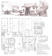 latest version of house plan 326 with the perspective portrait a courtyard design for a mediterranean influenced house stepped chimneys influenced by bermuda houses and projecting balconies influenced by spanish
