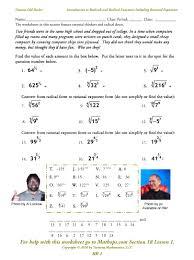 solving radicals worksheet worksheets