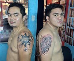 3 stars tattoo on shoulder three stars and th sun by