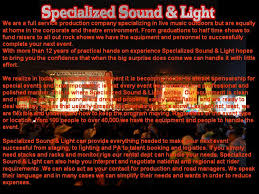 specializedsoundandlight com custom pa lighting and staging