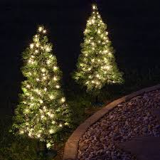 lighted christmas tree outdoor decorations 2 walkway pre lit winchester fir tree 50