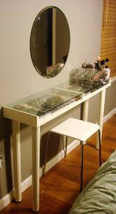 glass top vanity table diy makeup vanity with glass top made from ikea parts beauty