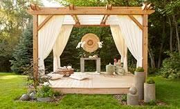 deck pergola with plant hangers