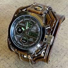 leather strap bracelet watches images Digital leather watch leather cuff wrist watch jpg