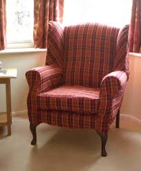 Wingback Chair Ottoman Design Ideas Furniture Plaid Wingback Chair Slipcover Appealing Wingback